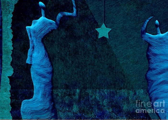 stone Men Greeting Card featuring the digital art Stone Men 30-33 C02c - Les Femmes by Variance Collections