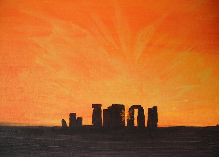Landscape Greeting Card featuring the painting Stonehenge At Sunrise by Colin Lederman