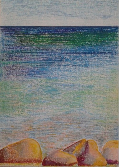 Landscape Painting Greeting Card featuring the pastel Stones By The Sea by Taruna Rettinger