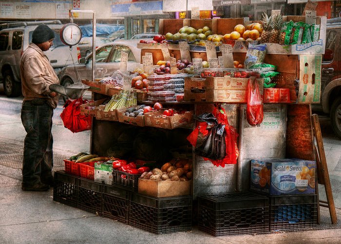 Chelsea Greeting Card featuring the photograph Store - Ny - Chelsea - Fresh Fruit Stand by Mike Savad