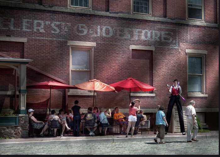 Hdr Greeting Card featuring the photograph Storefront - Bastile Day In Frenchtown by Mike Savad