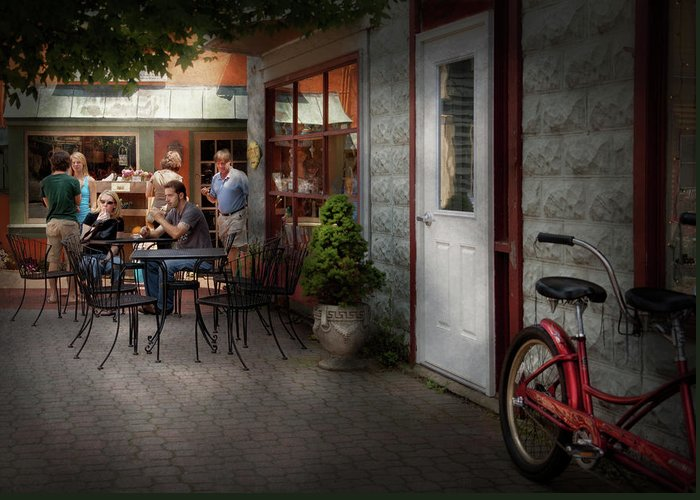 Hdr Greeting Card featuring the photograph Storefront - Frenchtown Nj - At A Quaint Bistro by Mike Savad