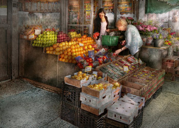 Fruit Greeting Card featuring the photograph Storefront - Hoboken Nj - Picking Out Fresh Fruit by Mike Savad