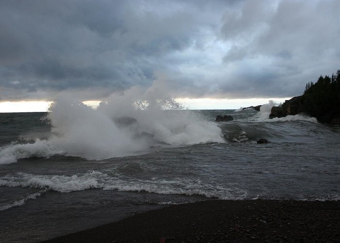 Storm On Black Beach Lake Superior Greeting Card featuring the photograph Storm On Black Beach by Joi Electa