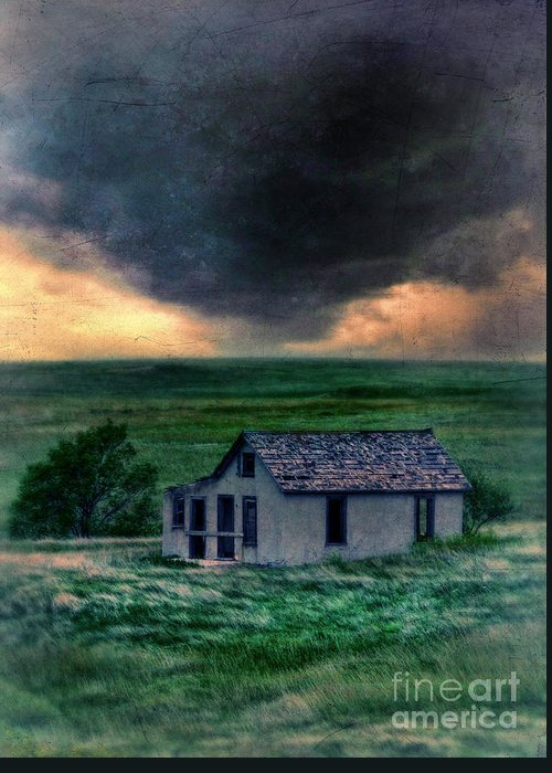 Farm Greeting Card featuring the photograph Storm Over Abandoned House by Jill Battaglia