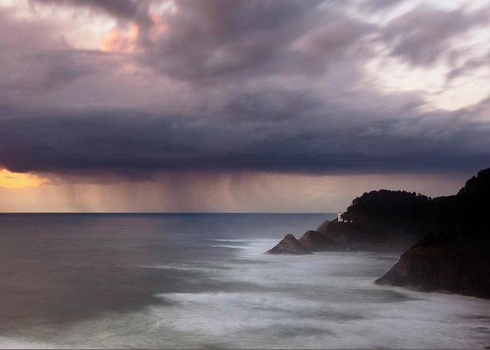 Light House Greeting Card featuring the photograph Storm Over Heceta Head by Keith Kapple