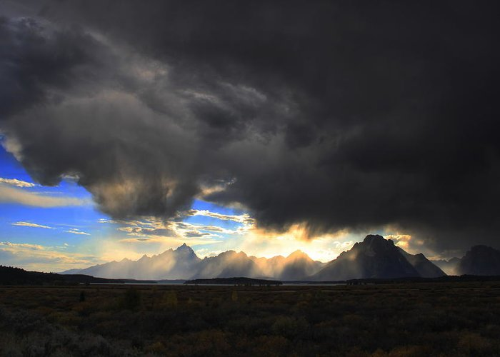 Sky Greeting Card featuring the photograph Storm Over The Tetons by William Joseph