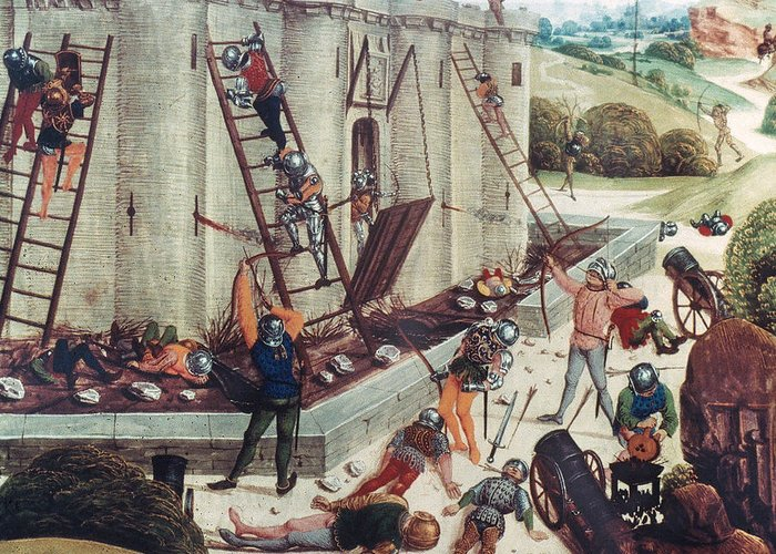 15th Century Greeting Card featuring the photograph Storming Of Castle by Granger