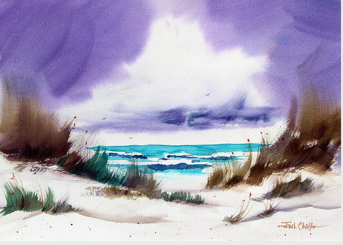Beach Landscape Greeting Card featuring the painting Storm's Coming. by Josh Chilton