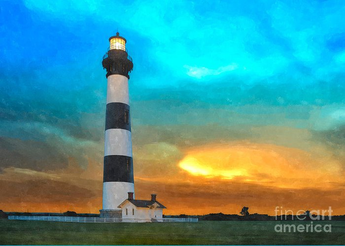 North Carolina Greeting Card featuring the painting Stormy Sunrise Wc by Dan Carmichael