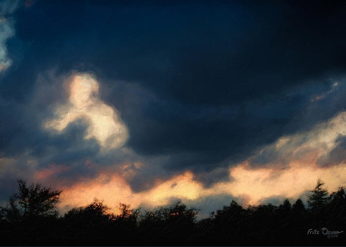 Sunset Greeting Card featuring the painting Stormy Sunset 1206 by Fritz Ozuna