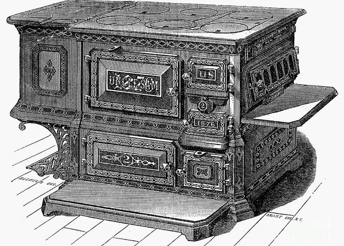 1876 Greeting Card featuring the photograph Stove, 1876 by Granger