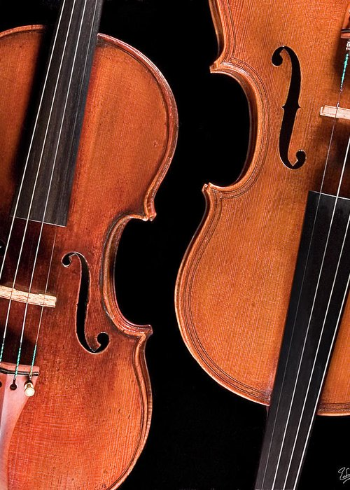 Strad Greeting Card featuring the photograph Stradivarius Violin And Maggini Viola by Endre Balogh