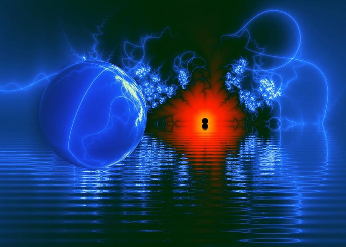 Water Greeting Card featuring the digital art Strange Lights On The Lake by Pam Blackstone