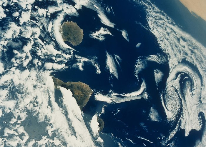 Canary Islands Greeting Card featuring the photograph Stratus Cloud Formations Over Canary by Nasa
