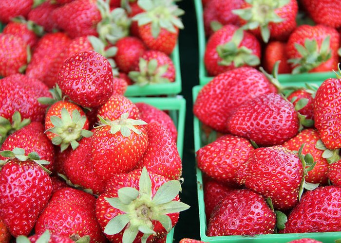 Background Greeting Card featuring the photograph Strawberries by Kim French