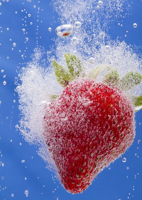 Red Greeting Card featuring the photograph Strawberry Soda Dunk 1 by John Brueske