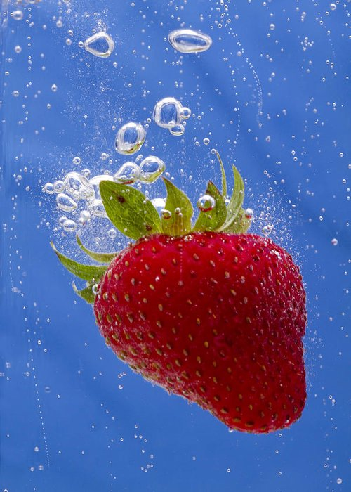 Red Greeting Card featuring the photograph Strawberry Soda Dunk 3 by John Brueske