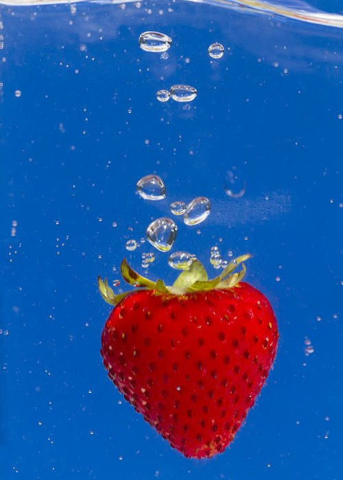 Red Greeting Card featuring the photograph Strawberry Soda Dunk 6 by John Brueske