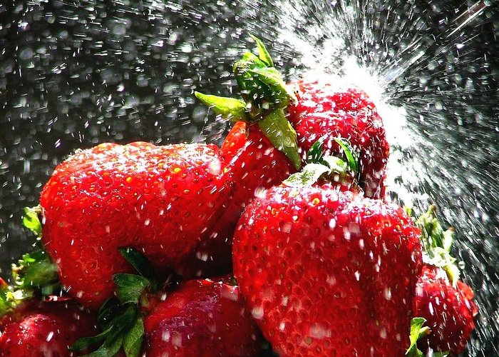 Berry Greeting Card featuring the photograph Strawberry Splatter by Colin J Williams Photography