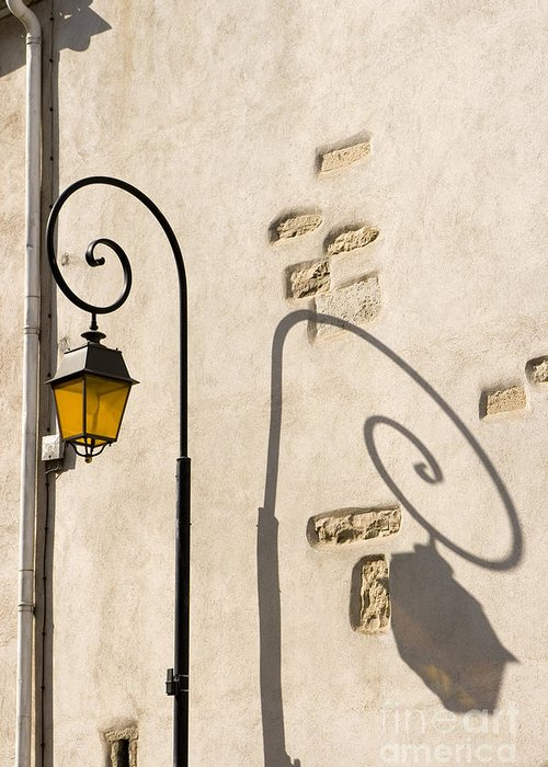 Aged Greeting Card featuring the pyrography Street Lamp And Shadow by Igor Kislev