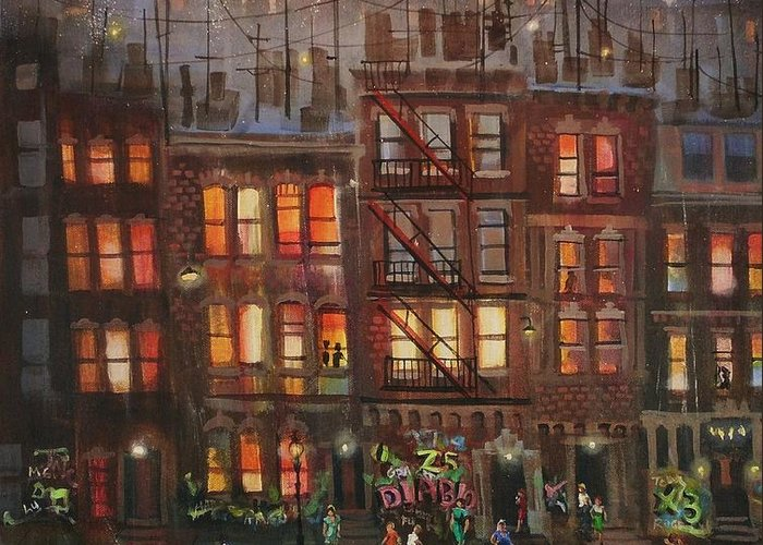 Brownstone Greeting Card featuring the painting Street Life by Tom Shropshire