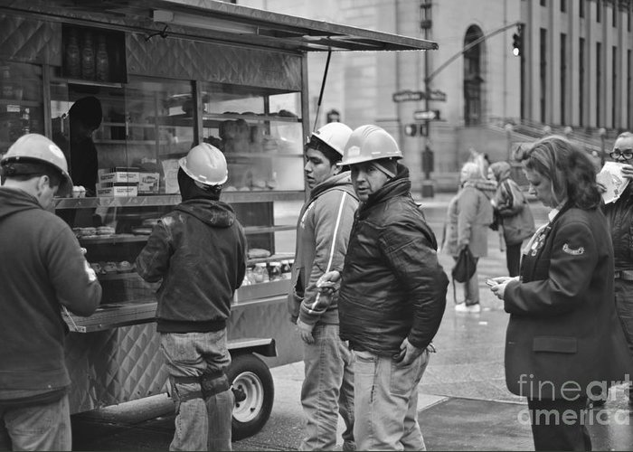 Lunch Construction Black And White Midtown Manhattan Nyc Ny New York Greeting Card featuring the photograph Street Photography - Picking Up Lunch by Darwin Lopez