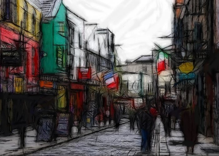 Street Life Still Flag Flags Oil Pastels Expressionism Impressionism Abstract Painting Greeting Card featuring the pastel Streetlife by Steve K