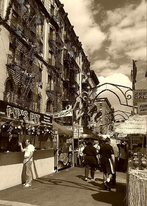 San Gennaro Greeting Card featuring the photograph Streets Of Little Italy by Catie Canetti
