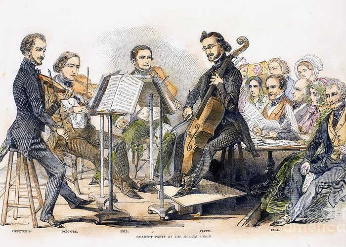 1846 Greeting Card featuring the photograph String Quartet, 1846 by Granger