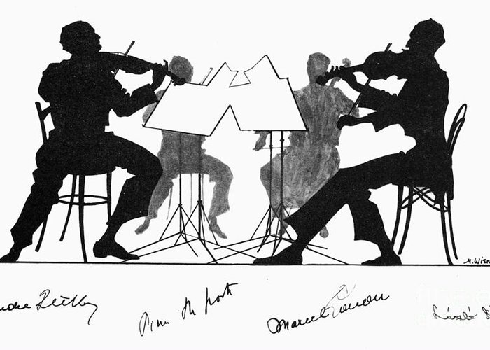 1935 Greeting Card featuring the photograph String Quartet, C1935 by Granger