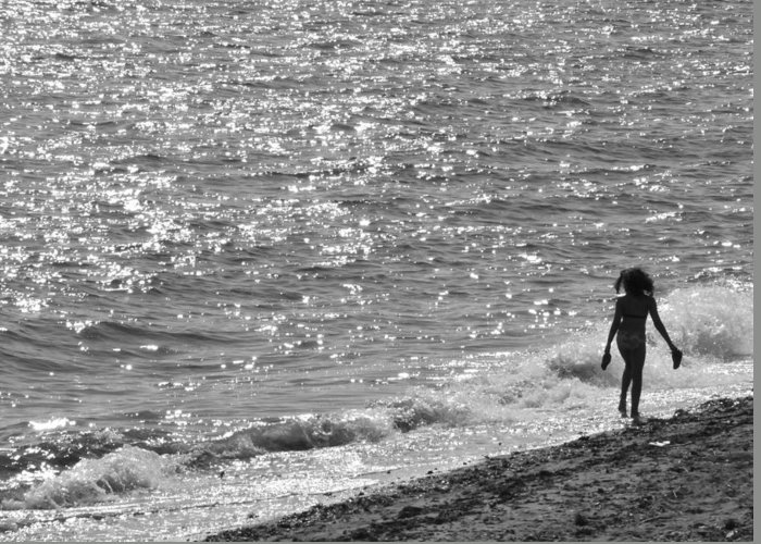 Black And White Photo Greeting Card featuring the photograph Strolling On Connecticut Beach by Cindy Lee Longhini