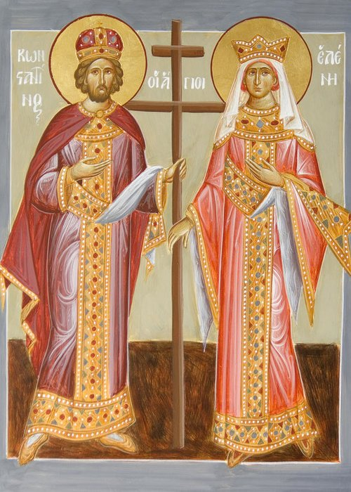 Sts Constantine And Helen Paintings Greeting Cards