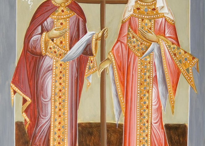 Sts Constantine And Helen Greeting Card featuring the painting Sts Constantine And Helen by Julia Bridget Hayes