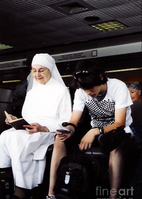 Nun Greeting Card featuring the photograph Study In Contrast by Christy Usilton