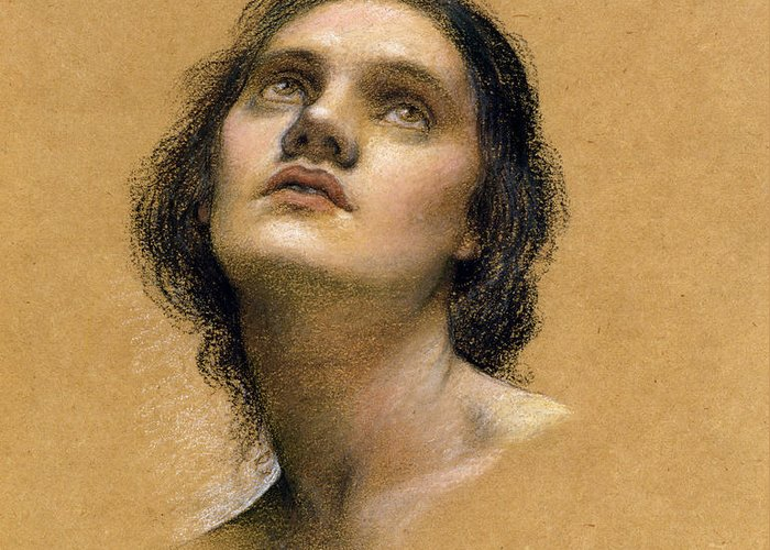 Female; Gaze; Drawing; Upturned Face Greeting Card featuring the pastel Study Of A Head by Evelyn De Morgan