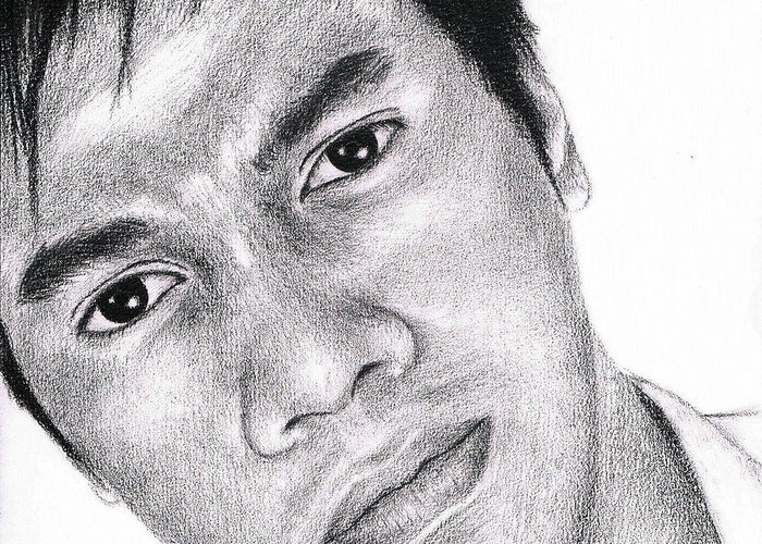 Graphite Greeting Card featuring the drawing Subhan Mohammad by Joned Rahadian