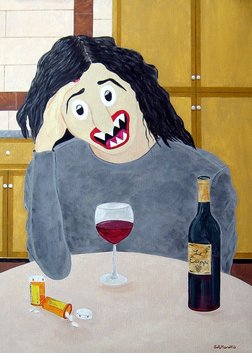 Ambien Greeting Card featuring the painting Suburban Divorcee by Sal Marino