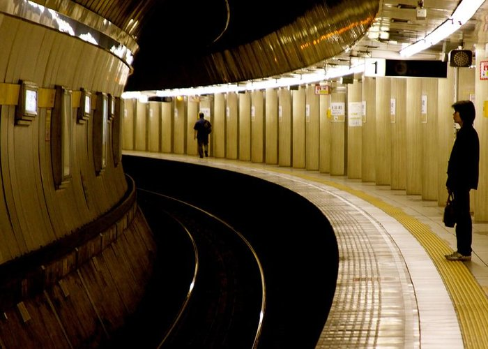 Tokyo Greeting Card featuring the photograph Subway Curve by Jerry Patterson