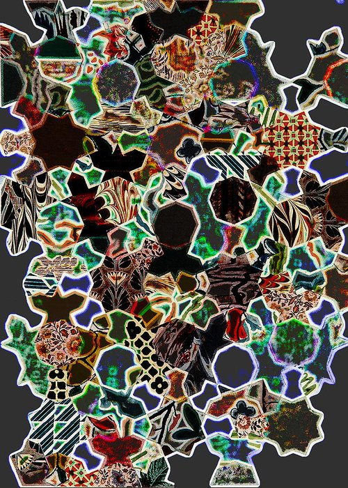 Pattern Greeting Card featuring the digital art Sufi Pattern 6 by Luis Perelman