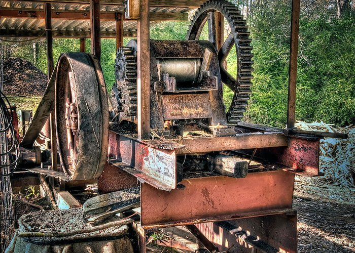 Molasses Greeting Card featuring the photograph Sugar Cane Mill by Tamyra Ayles