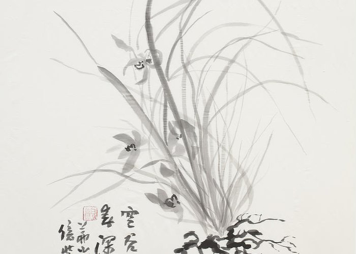 Ink Wash Painting Greeting Card featuring the painting Sumi-e Four by Greg Kopriva