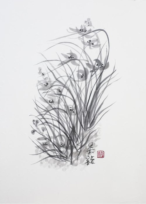 Ink Wash Painting Greeting Card featuring the painting Sumi-e Two by Greg Kopriva