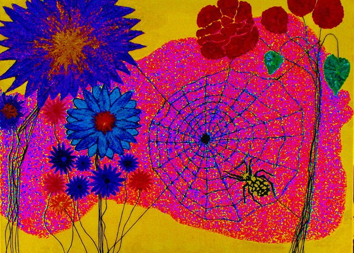 Abstract Greeting Card featuring the painting Summer Celebration 3 by Norman Shipley