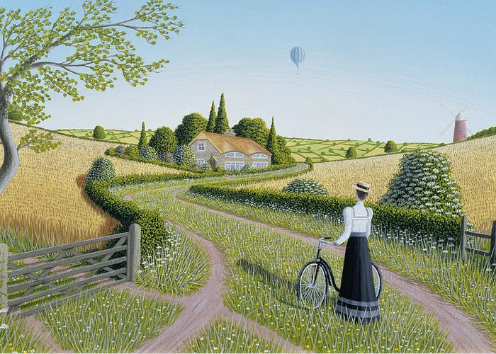 Naive; Landscape; Edwardian; Hot Air Balloon;female; Bicycle; Windmill; Rural; Bucolic; Country Lane;gate; Cornfield; Thatched Cottage; Woman; Dress; Hat; Green; Grass; Grassy; Flower; Flowers; Bush; Bushes; Tree; Trees; Corn; Field; Fields; Cottage Greeting Card featuring the painting Summer Cycling by Peter Szumowski