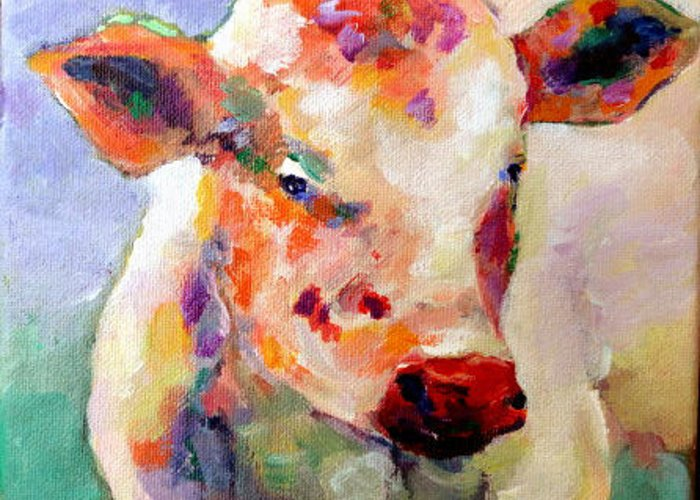 Cows Greeting Card featuring the painting Summer Days by Naomi Gerrard
