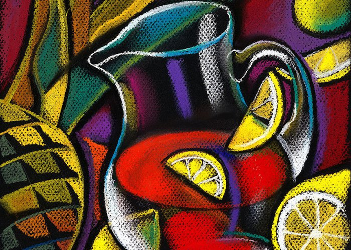 Food And Drink Fork Freshness Glass Grape Healthy Eating Illustration Illustration And Painting Large Group Of Objects Lemon Lifestyle Nature Nobody Nutrition Ocean Organic Outdoors Red Wine Seafood Slice Still Life Summer Sun Sunny Variety Vertical Wine Wine Glass Alcohol Animal Assortment Close-up Color Colour Cutlery Daytime Drawing Food Fresh Fruit Group Health Lifestyles Natural Outside Sea Still-life Summertime Sunshine Water Pineapple Lemon Decorative Art Abstract Greeting Card featuring the painting Summer Drink by Leon Zernitsky