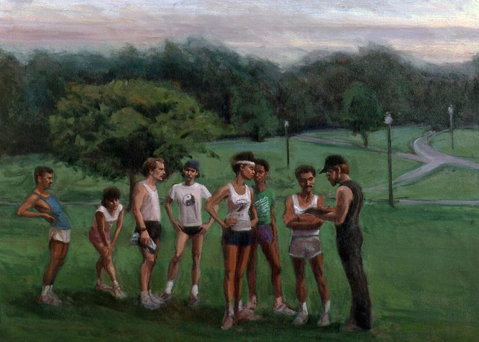 Runners Greeting Card featuring the painting Summer Evening Meet by Sarah Yuster