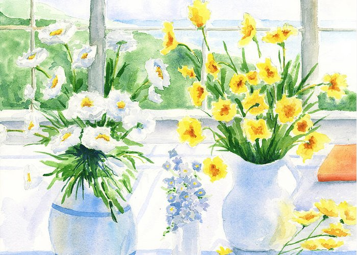 Flowers Greeting Card featuring the painting Summer Light by Susan Mahoney