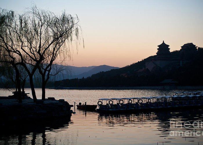 Beijing Greeting Card featuring the photograph Summer Palace Evening by Mike Reid